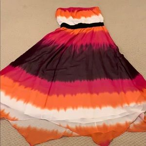 Express multicolored strapless dress